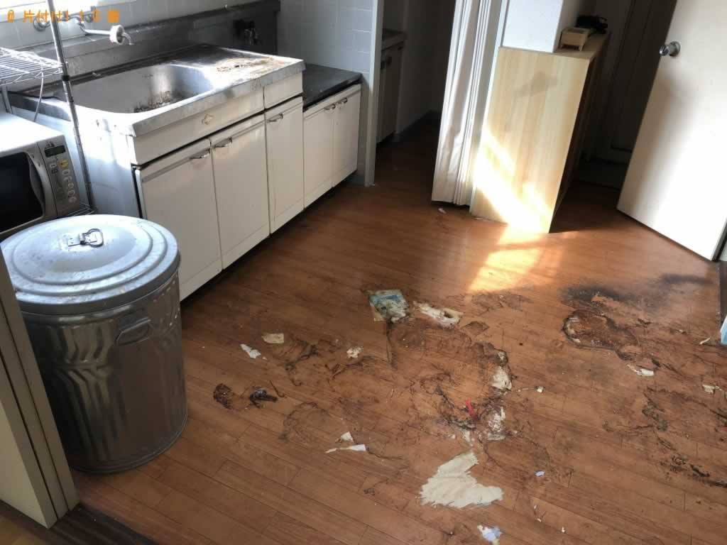 2Kのアパートの片付けとクリーニング希望。大きな物は引っ越し業者に頼んであるので、ゴミの片付けをしてほしい。